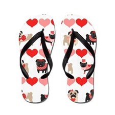 Pug Valentines and Hearts Flip Flops