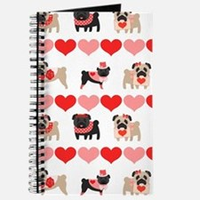Pug Valentines and Hearts Journal