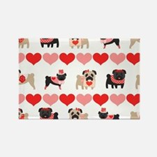 Pug Valentines and Hearts Rectangle Magnet