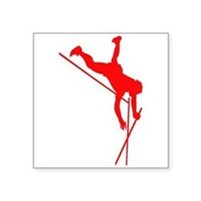 Red Pole Vaulter Silhouette Sticker