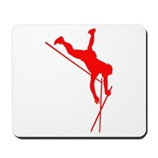 Red Pole Vaulter Silhouette Mousepad