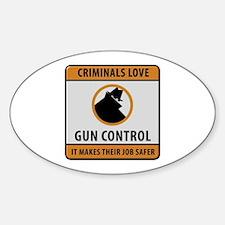 Criminals Love Gun Control Decal