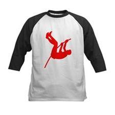 Red Pole Vaulter Silhouette Baseball Jersey