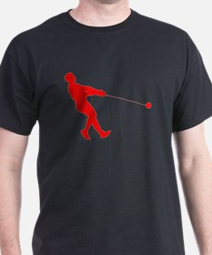 Red Hammer Throw Silhouette T-Shirt