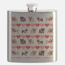 Pug Valentines and Hearts Flask
