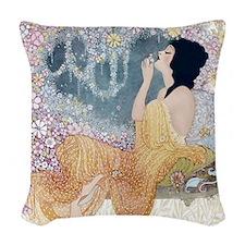 Art Deco Vanity Lady Woven Throw Pillow