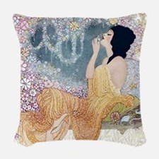 Art Deco Vanity Lady Woven Throw Pillow