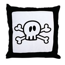 Cartoon Skull and Crossbones Throw Pillow
