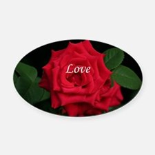 Love Romantic Red Rose for Valenti Oval Car Magnet