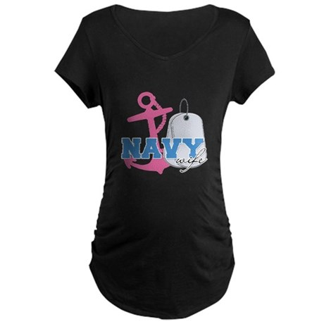 Dogtags Navy wife Maternity Dark T-Shirt