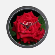 Love Romantic Red Rose for Valentine, B Wall Clock