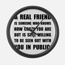 Real Friend Crazy Large Wall Clock