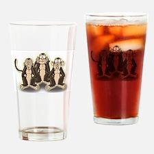 Hear Speak See No Evil - Monkeys Drinking Glass