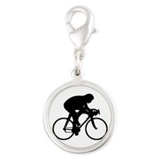 Bicycle Rider Silver Round Charm