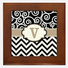 Black Beige Scroll Chevron Monogram Framed Tile