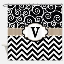 Black Beige Scroll Chevron Monogram Shower Curtain