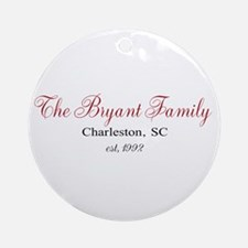 Personalizable Family Black Red Ornament (Round)