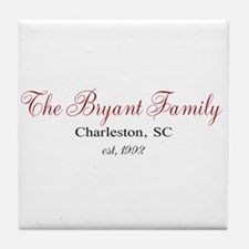 Personalizable Family Black Red Tile Coaster
