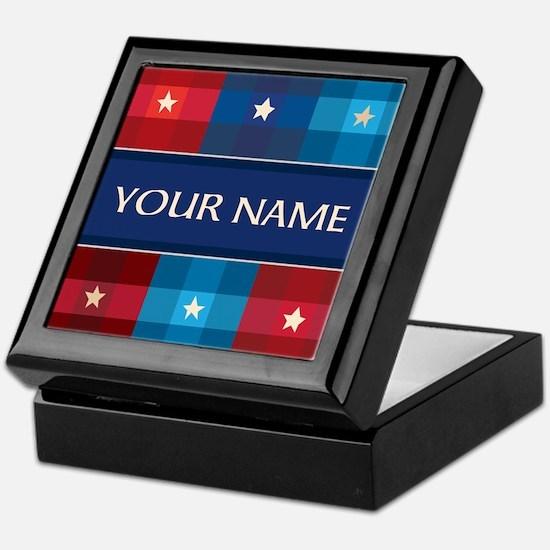 Patriotic Plaid Stars Keepsake Box