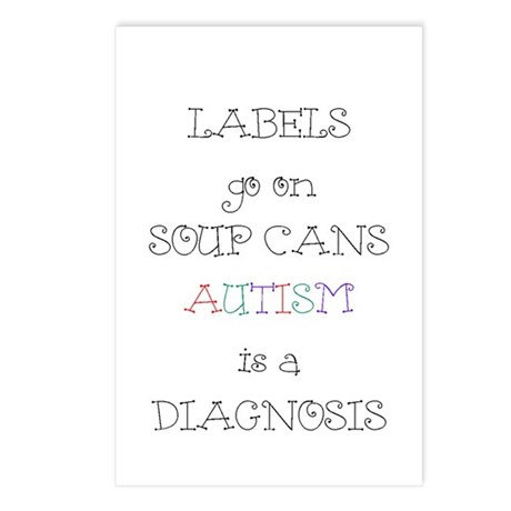 Autism ~ Labels go on soup cans Postcards (Package