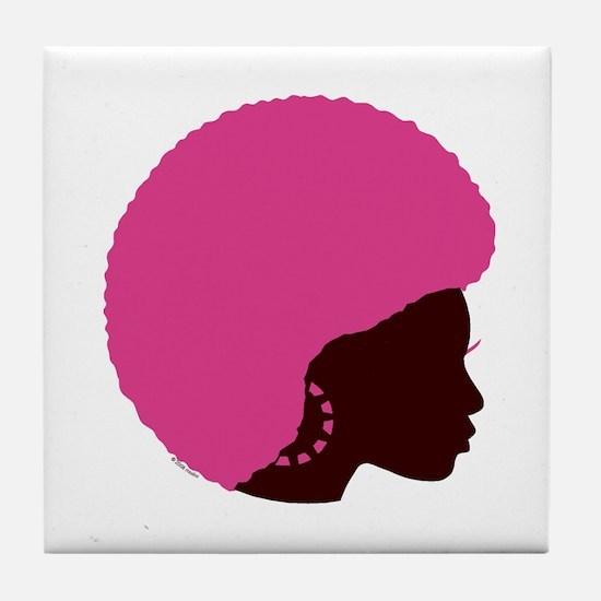 Pink_afro.png Tile Coaster