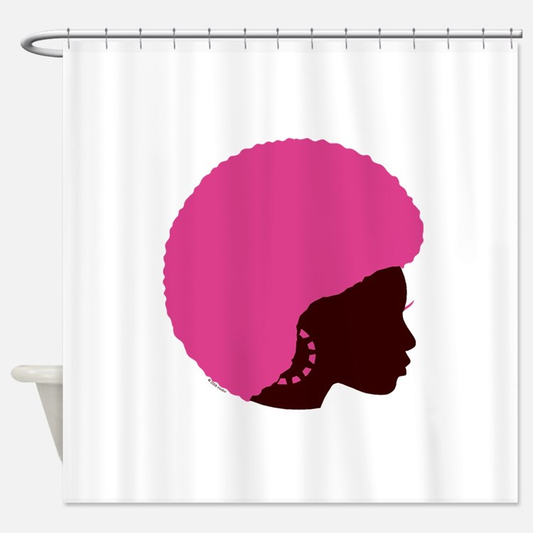 Pink_Afro.png Shower Curtain