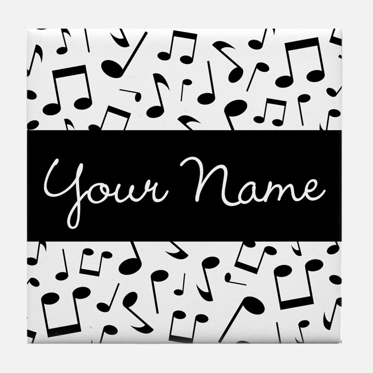 Personalized Music Notes Tile Coaster