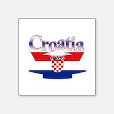 """Cute Croatia ribbon Square Sticker 3"""" x 3"""""""
