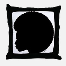 Woman_Afro_black.png Throw Pillow