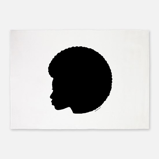 Woman_Afro_black.png 5'x7'Area Rug
