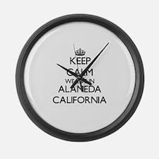 Keep calm we live in Alameda Cali Large Wall Clock