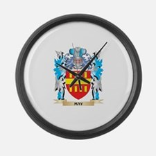 May Coat of Arms - Family Crest Large Wall Clock