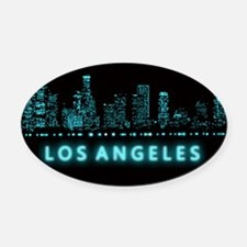Digital Cityscape: Los Angeles, Ca Oval Car Magnet