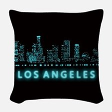 Digital Cityscape: Los Angeles Woven Throw Pillow