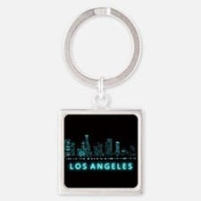 Digital Cityscape: Los Angeles, Ca Square Keychain