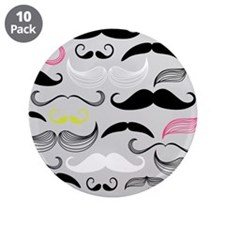 "Pink, Yellow & Grey Mustache 3.5"" Button (10 pack)"