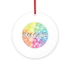 IMAGINE, RAINBOW,  Round Ornament