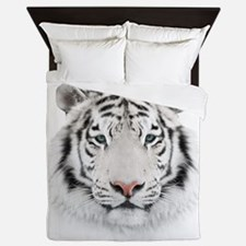 White Tiger Head Queen Duvet