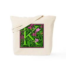 Floral Initial K Tote Bag