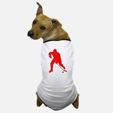Red Hockey Player Silhouette Dog T-Shirt