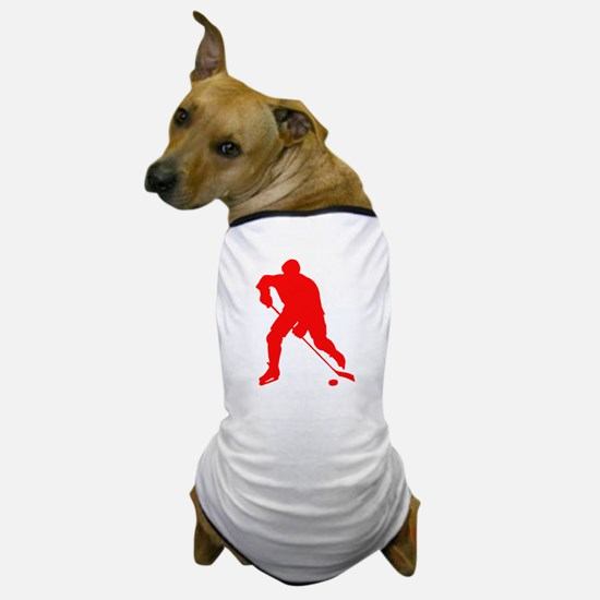 Red Hockey Player Silhouette Dog T-Shirt