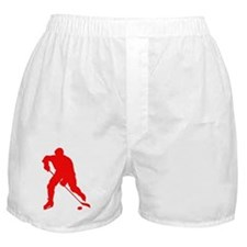 Red Hockey Player Silhouette Boxer Shorts