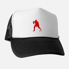 Red Hockey Player Silhouette Trucker Hat
