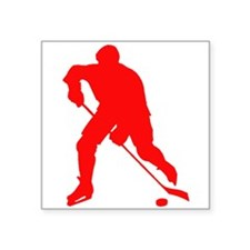 Red Hockey Player Silhouette Sticker