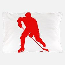 Red Hockey Player Silhouette Pillow Case