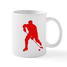 Red Hockey Player Silhouette Mugs