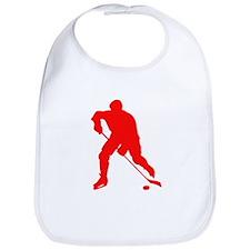 Red Hockey Player Silhouette Bib