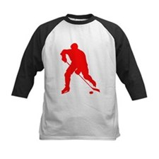 Red Hockey Player Silhouette Baseball Jersey
