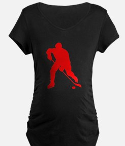 Red Hockey Player Silhouette Maternity T-Shirt