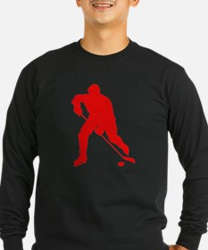 Red Hockey Player Silhouette Long Sleeve T-Shirt